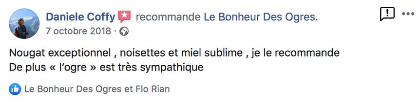 2018 Avis de Daniele Coffy sur Le Bonheur des Ogres, Nougatier artisanal à Quistinic (56310)