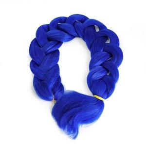 Однотонный канекалон синий, длина косы 65см