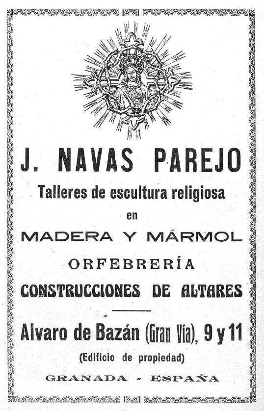 Publicidad del taller de J. Navas Parejo en prensa