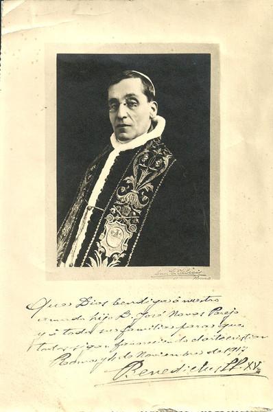 Bendición de Benedicto XV a la familia de Navas Parejo