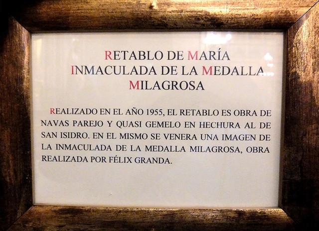 Letrero del Retablo de María Inmaculada de la Medalla Milagrosa