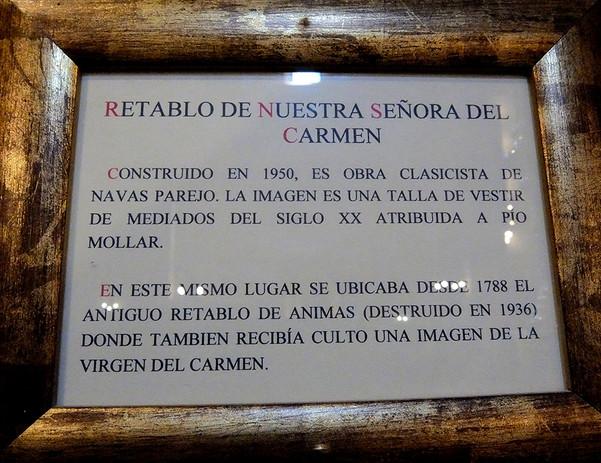 Letrero del Retablo Virgen del Carmen