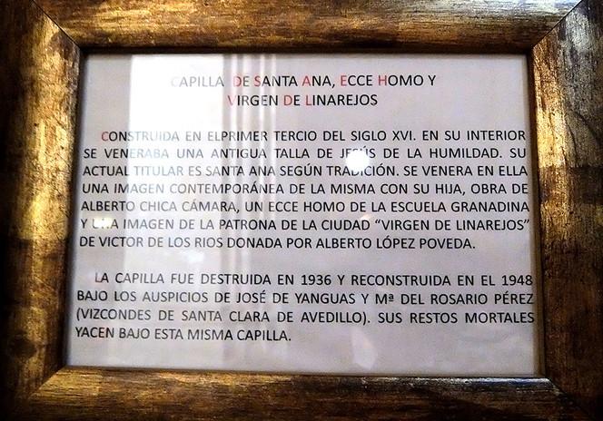 Capilla de Santa Ana, Ecce Homo y Virgen de Linarejos