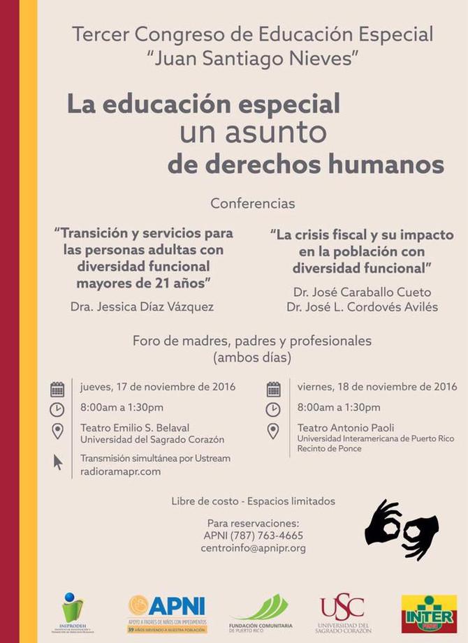 Tercer Congreso de Educación Especial Juan Santiago Nieves