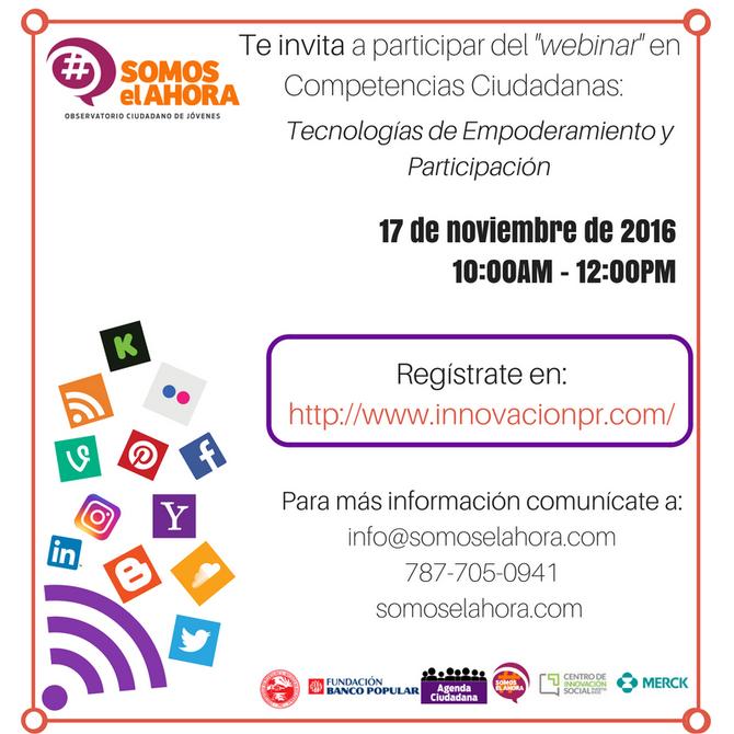 Webinar: Tecnologías de Empoderamiento y Participación