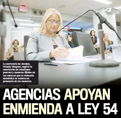 Agencias apoyan enmienda a ley 54