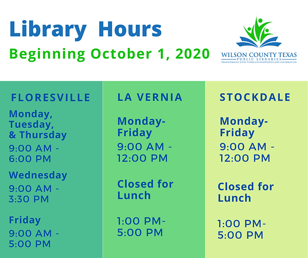 Library Hours update 10_20