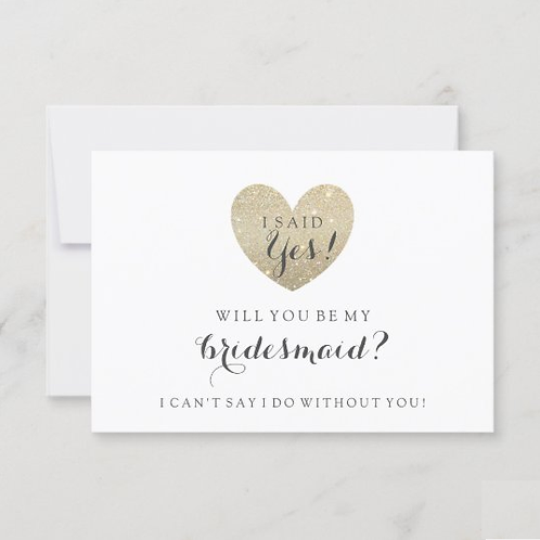 Will You Be My Bridesmaid Card - Glitter Fab Heart