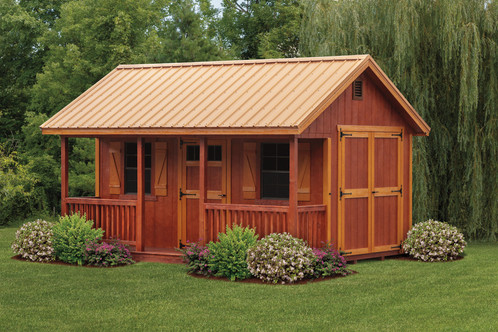 Deluxe A Frame Shed with Porch 10x14 Tin Roof