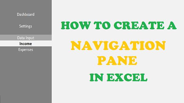 Excel Navigation Menu Pane Tutorial