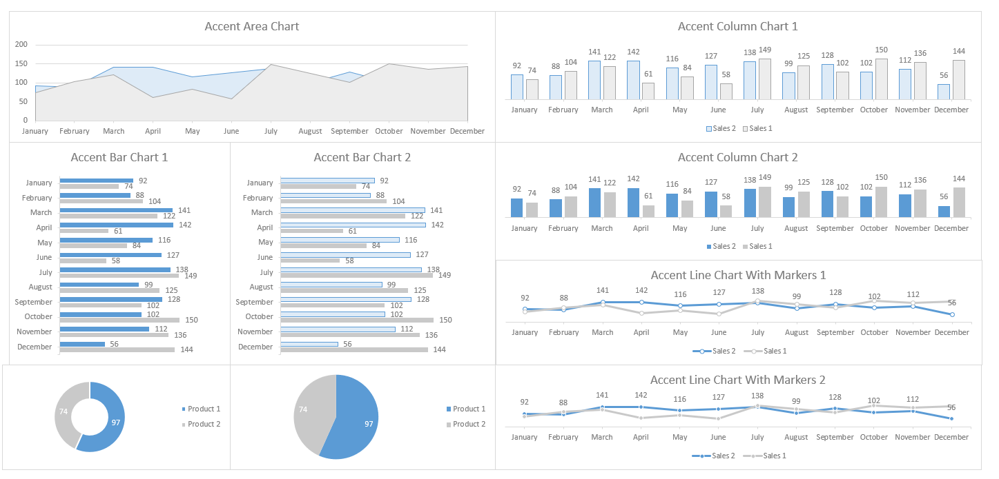 Excel Dashboard Design Blue