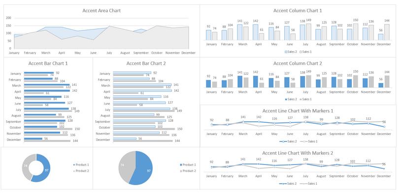 Excel Dashboard Design Blue