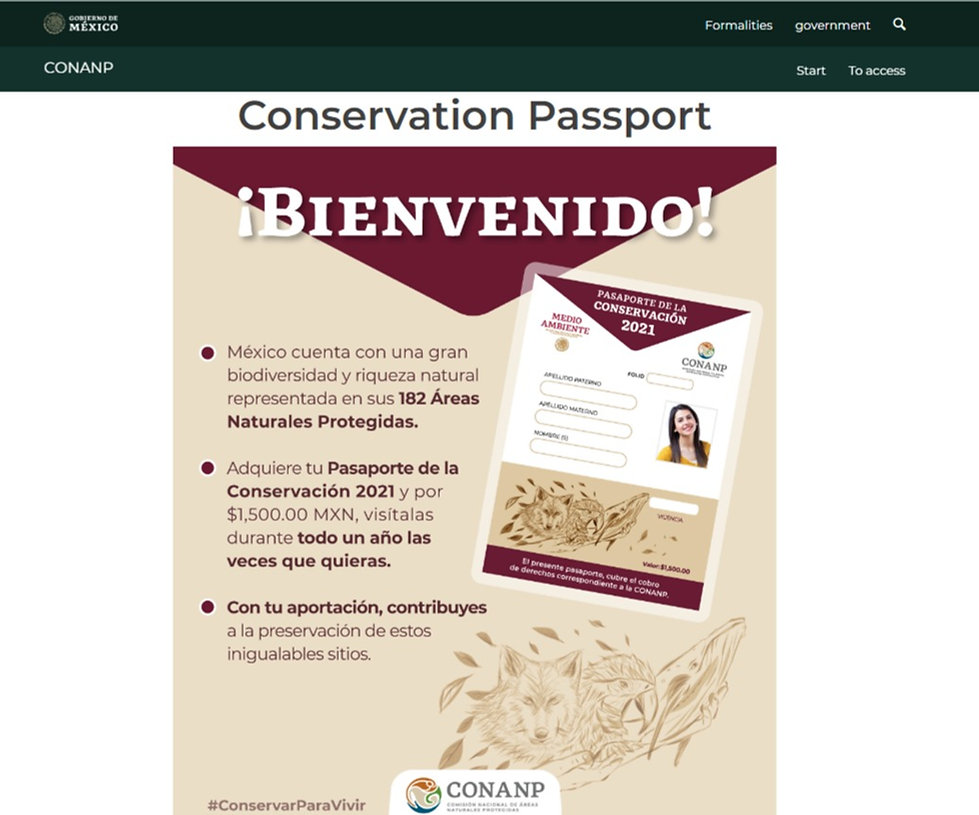CONANP website to start the purchase of your annual conservation pass.