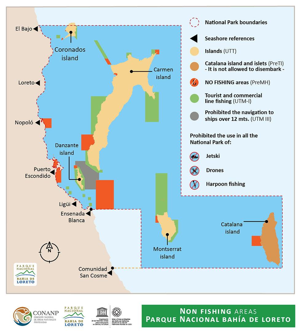 Protected fishing areas Loreto, no fish zones loreto bay, marine park no fish zones, loreto