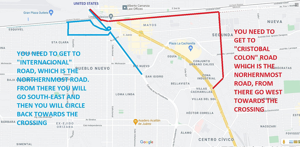 Directions and map of the mexicali west to calexico border crossing, no sentri lane, mexico to usa