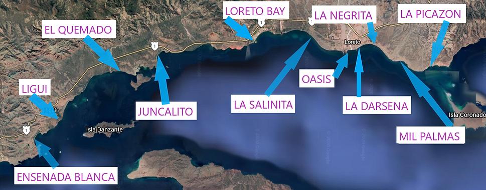 Map of Loreto's best Beaches, Map of Beaches of Loreto, Mexico