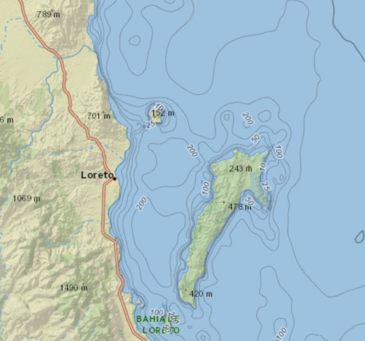 LORETO FISHING DEPTHS, LORETO UNDERWATER TERRAIN, LORETO BATHYMETRIC MAP
