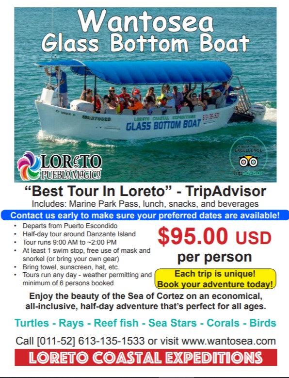Glass bottom boat tour loreto, glass bottom boat, tours, loreto