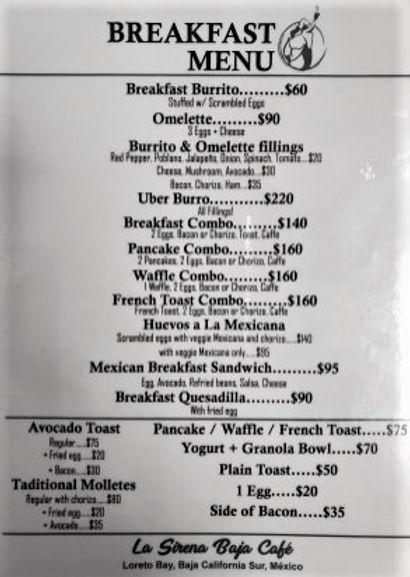 La Sirena Baja Cafe, Loreto, Breakfast Menu