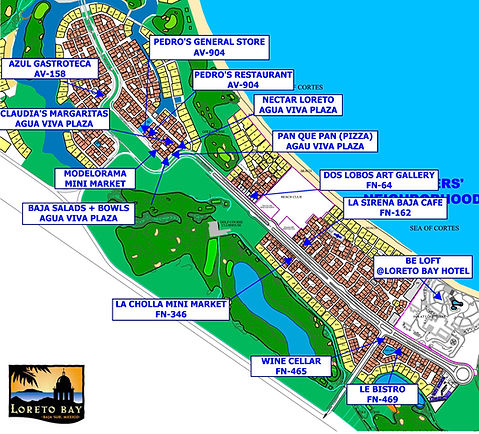 map of loreto bay with restaurants, map, loreto bay, nopolo