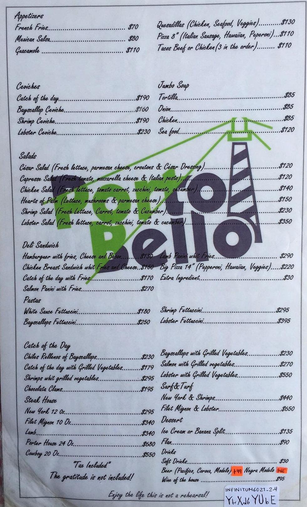 Pedro's Place menu, Loreto Bay, Nopolo, Restaurant