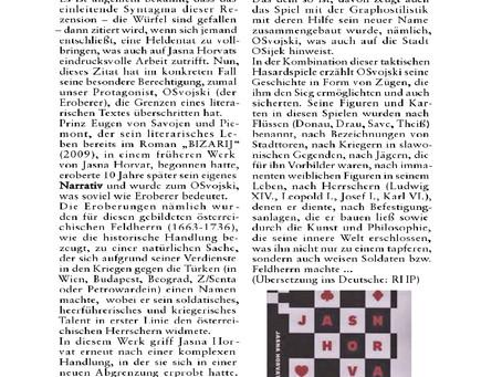 "Milica Jukić o romanu ""Osvojski"" u PANONSKOM LISTU /PANNONISCHES BLATT / PANNON LAP          6/2019."