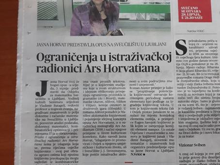 Najava gostovanja u Ljubljani objavljena u Glasu Slavonije