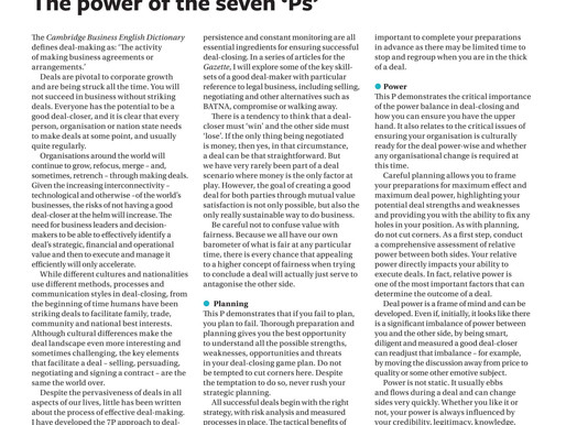 Effective deal-making: the power of the seven 'Ps'