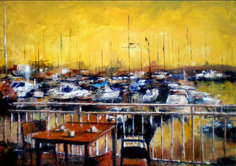 cafe en el puerto