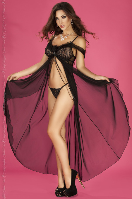 Higly seductive long gown with exquisite broderie and  delicate fine mesh Includes beautyfull G-string