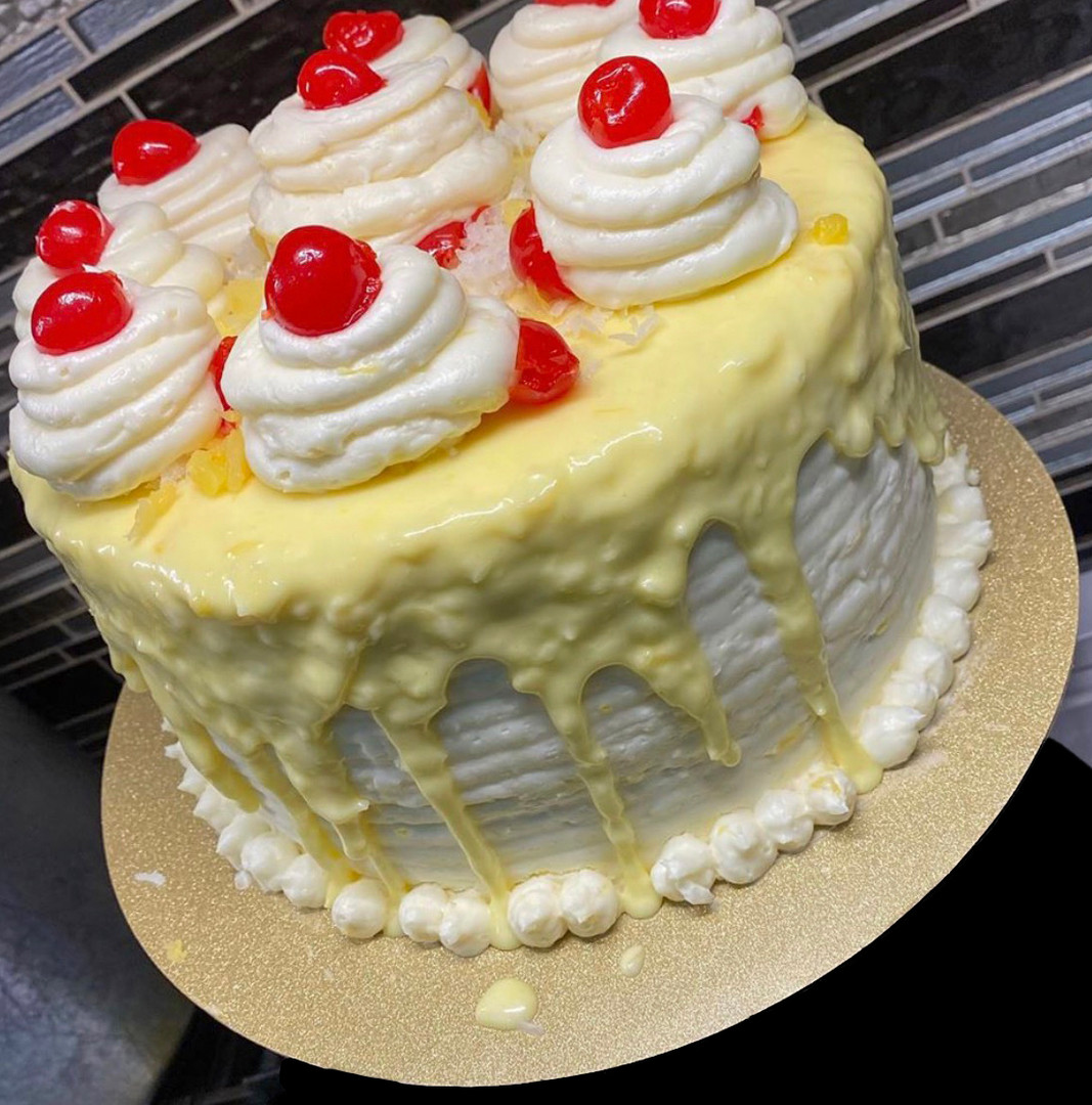 Pineapple Coconut Drip Cake
