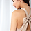 Thumbnail: Taupe blush beaded dress with bow back