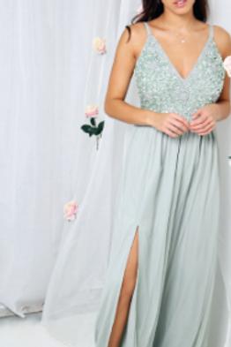 Beaded v-neck tulle dress