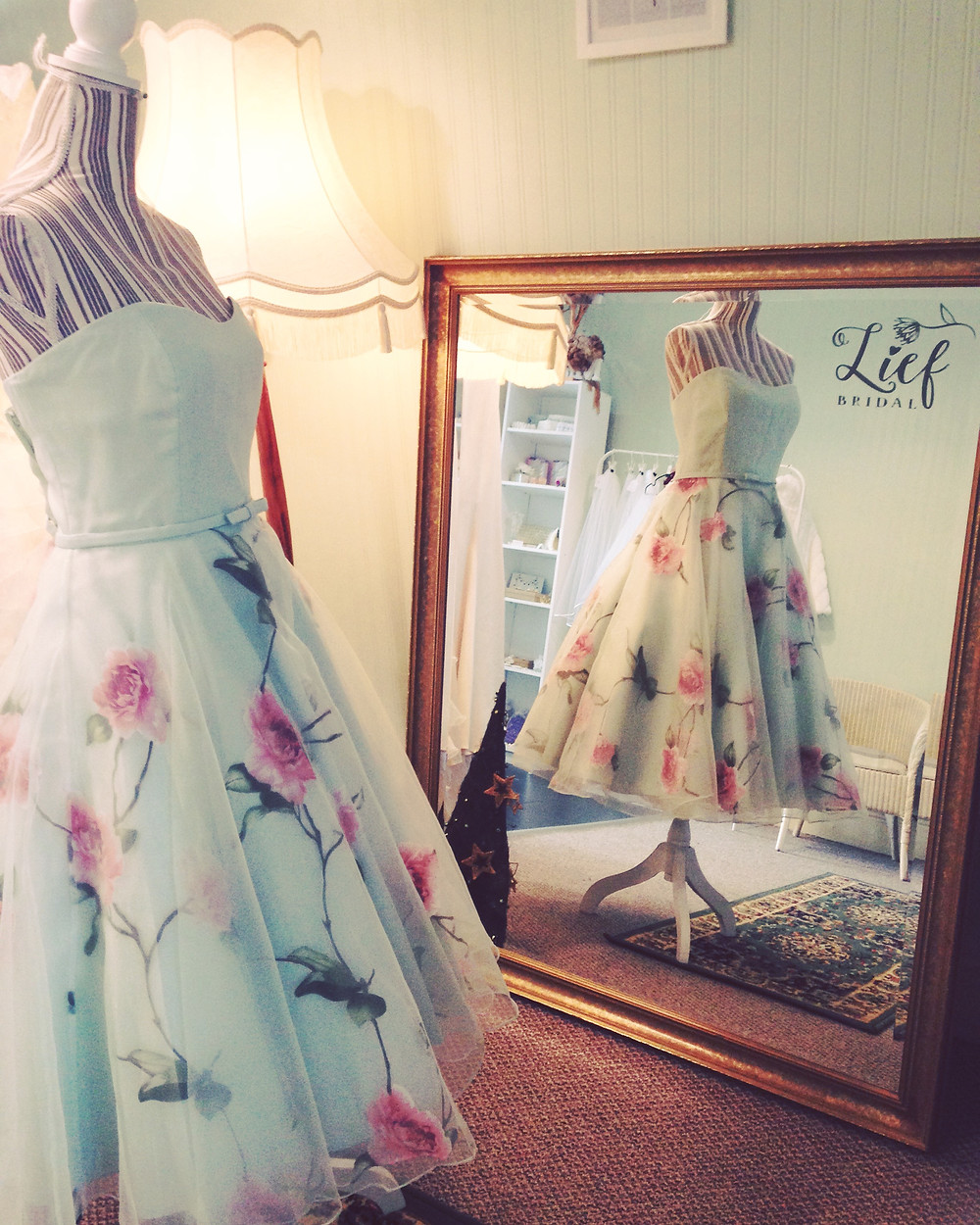 Floral tea length bridesmaid dress