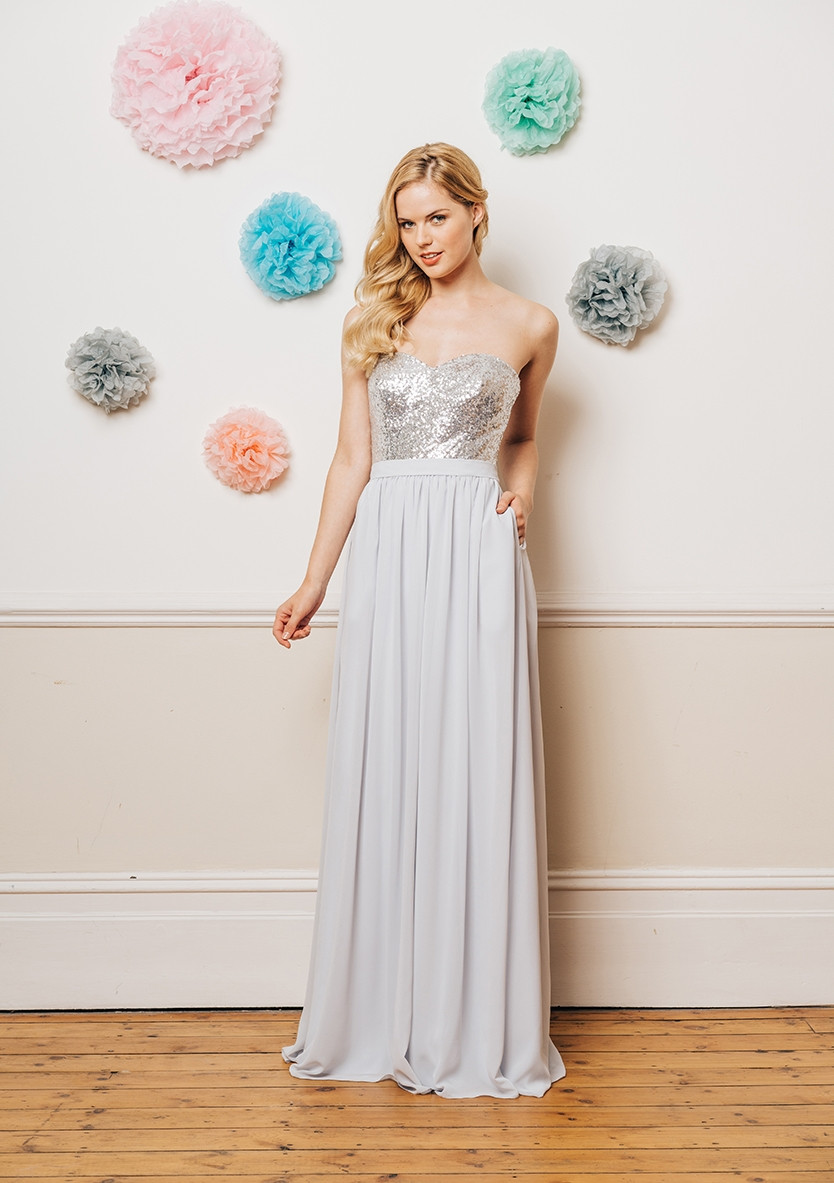 Sequin top prom dress