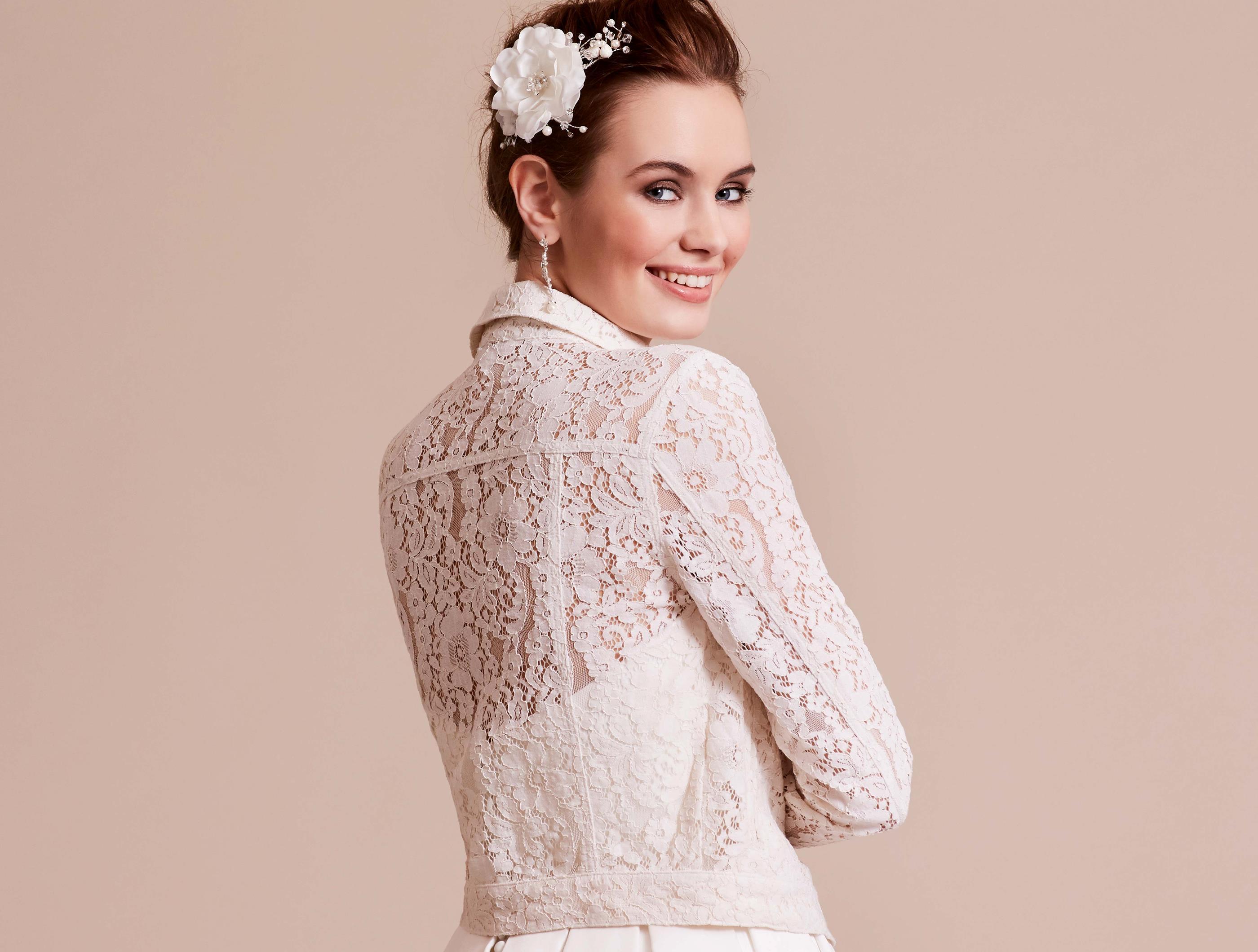 'Denim' inspired bridal jacket back
