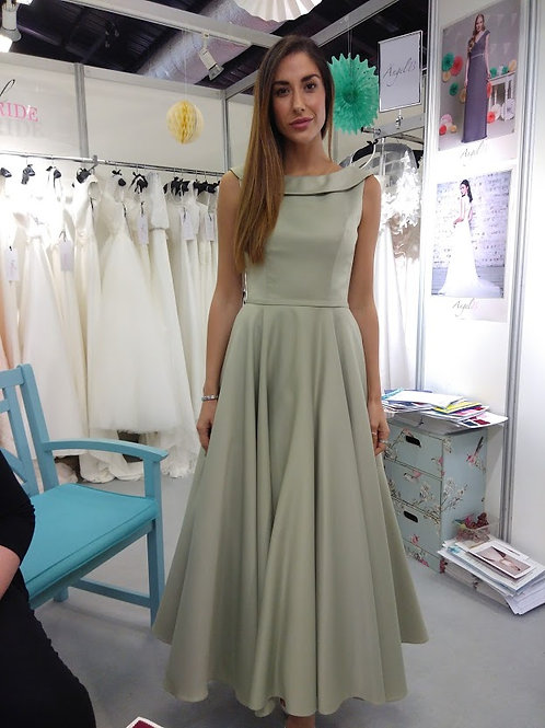 Ballerina length, vintage style satin dress