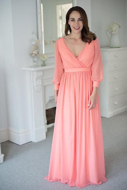 Boho effect chiffon dress with sleeves