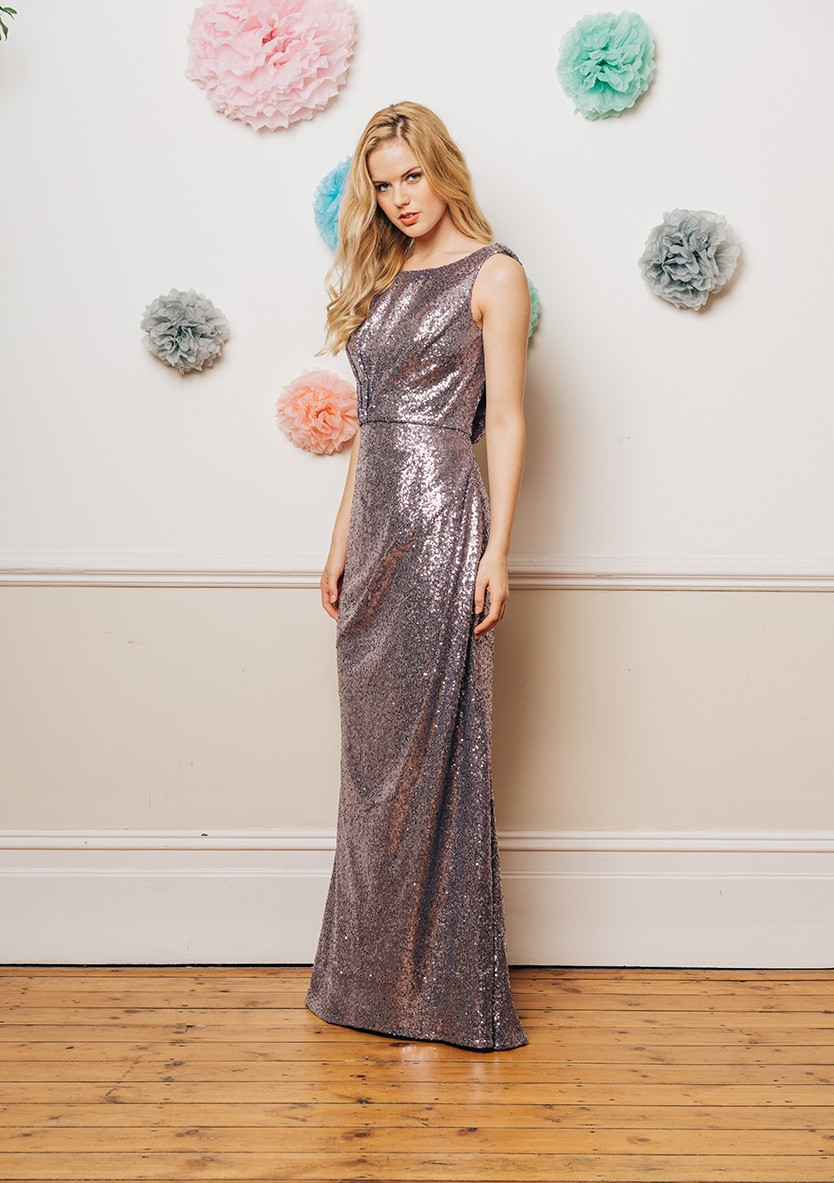 Sequin bridesmaid dress - full length with grecian back
