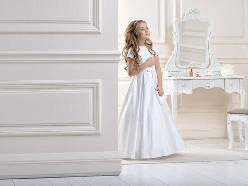 Floor length satin flower girl dress