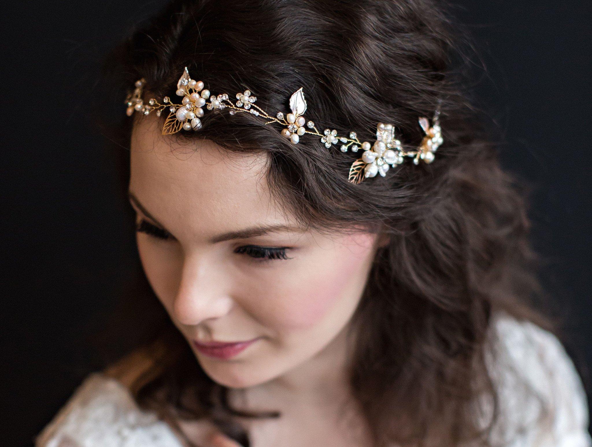 Rose gold, handmade bridal hair vine