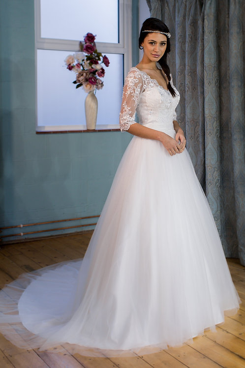 Victoria Kay tulle ballgown with lace sleeves
