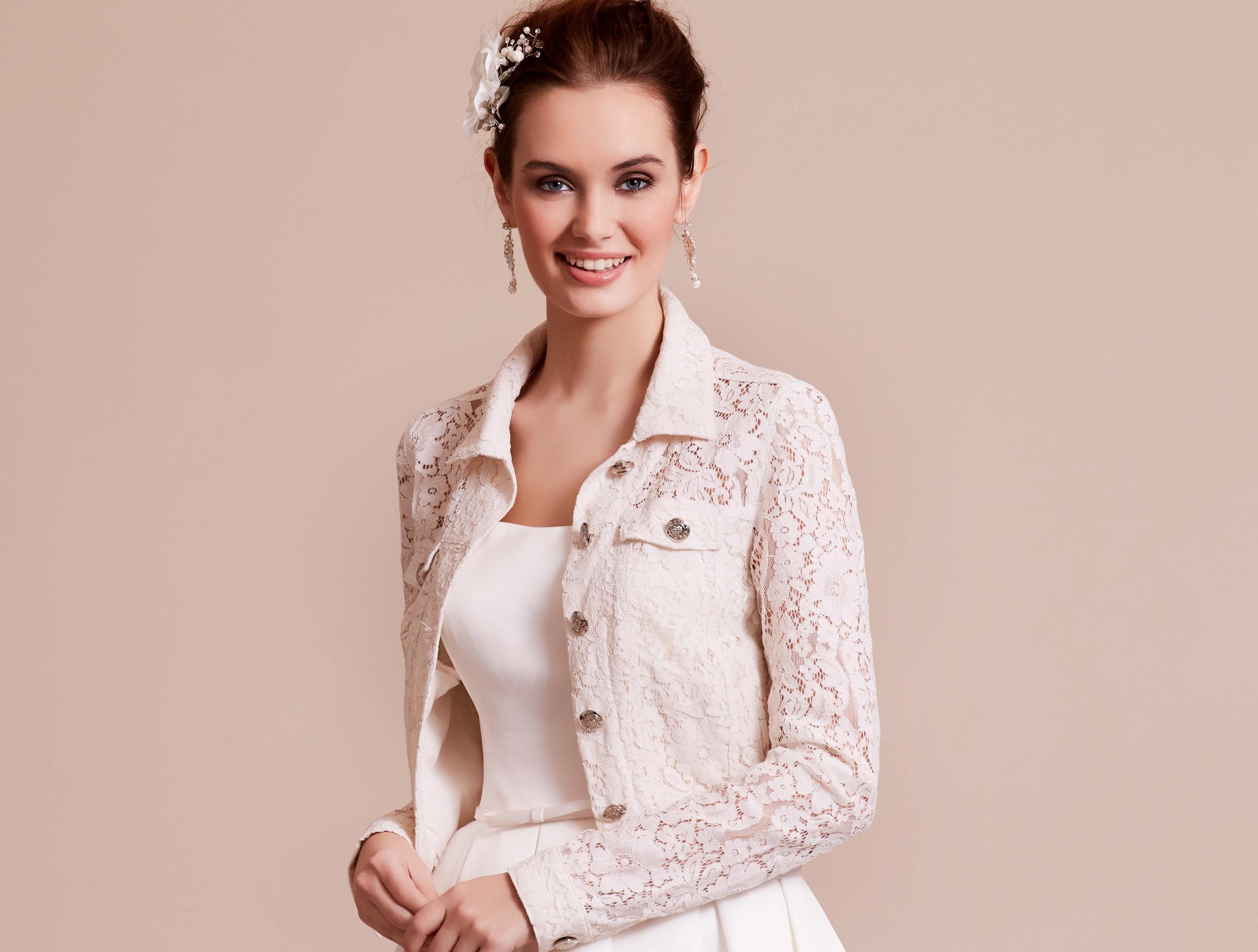 'Denim' inspired lace bridal jacket