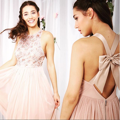 Taupe blush beaded dress with bow back