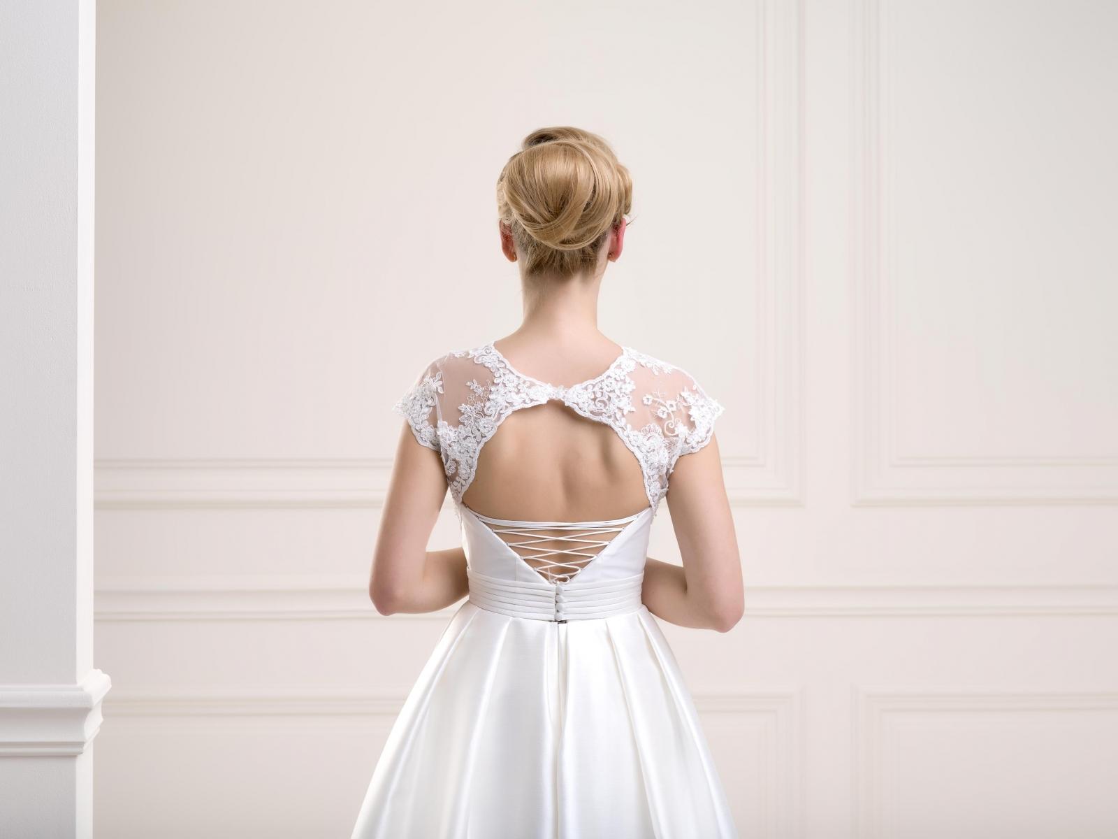 Open back lace bridal jacket