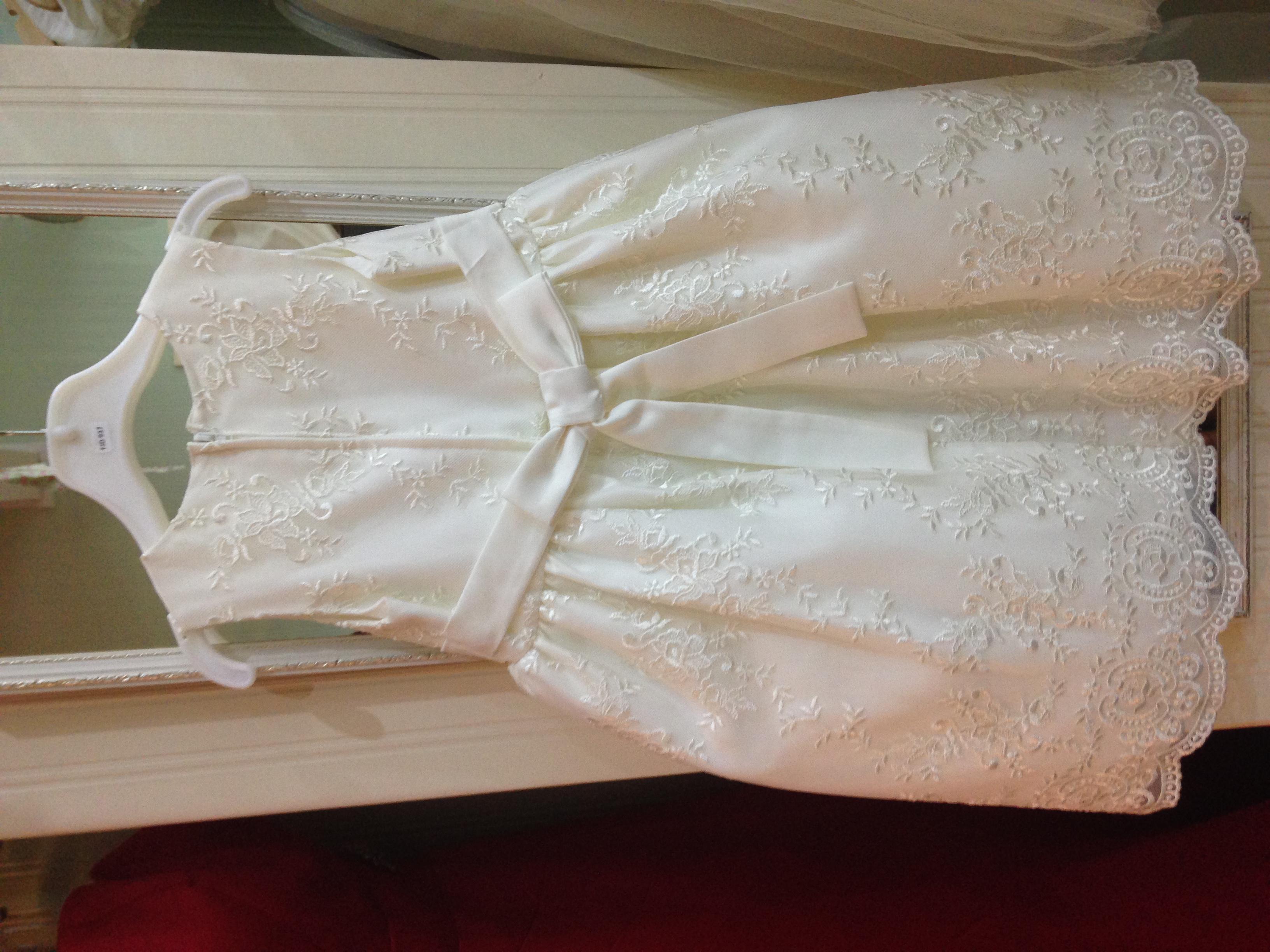 Ivory lace flower girl dress back