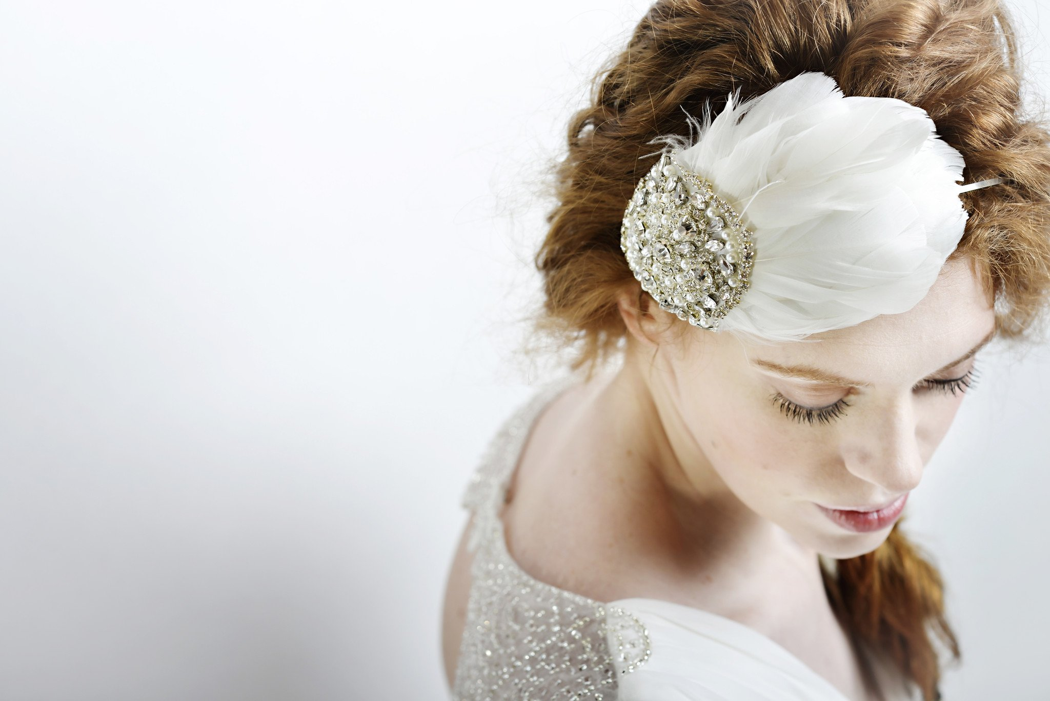 Vintage bridal feather hair band