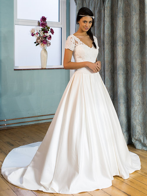 Victoria Kay Satin wedding gown with lace sleeves