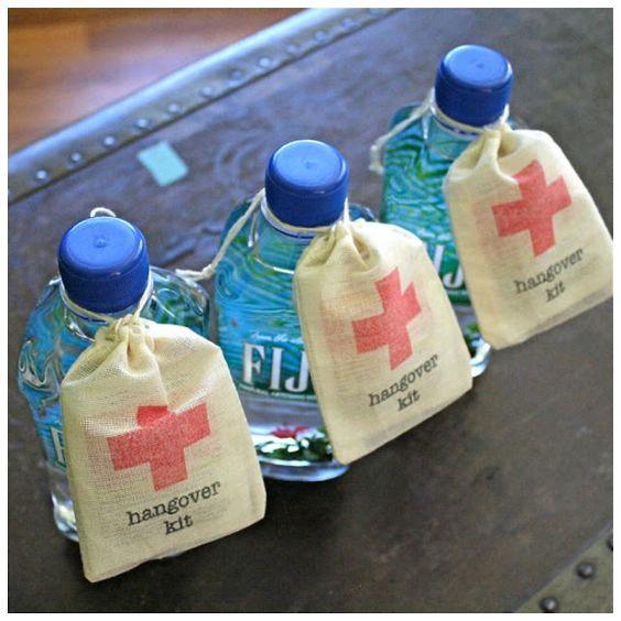 DIY wedding favour emergency hangover kit