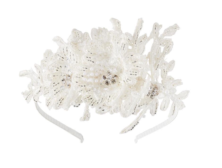 Lace and bead bridal hair band